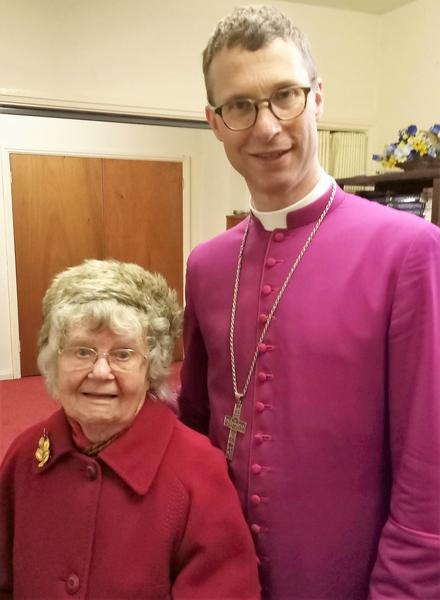 Mrs Edna Emery with Rt Rev Philip North, Bishop of Burnley